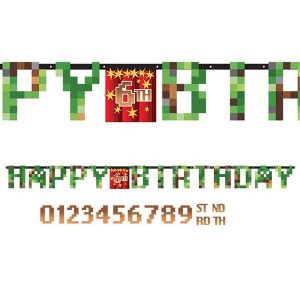 Happy Birthday Banner 3 meter - Minecraft