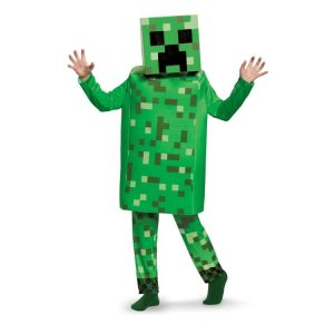 Minecraft Creeper Deluxe Maskeraddräkt Barn, MEDIUM
